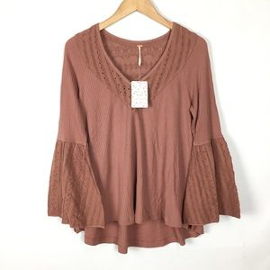 Free people mauve eyelet blouse top